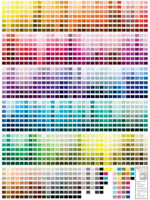 CMYK Colour Chart for Fabric Design