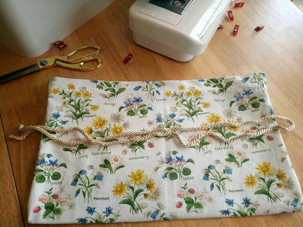 Upcycled Produce Bag Cut Cord to Length