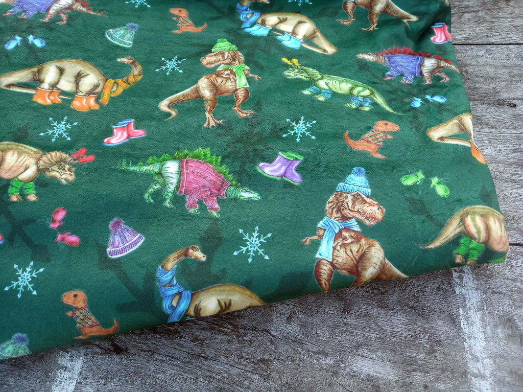 Wooly Dinosaurs Fir Green Double Plush Lycra