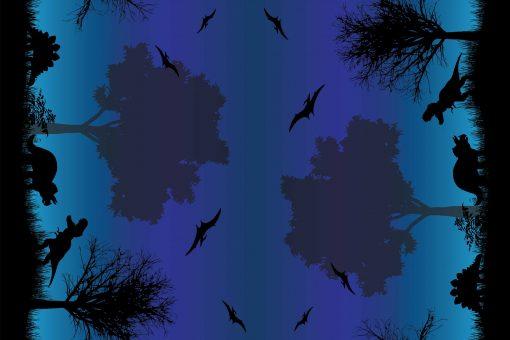 Dino Silhouettes Blue Ombre Border