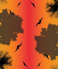 Dino Silhouettes Red Ombre Border